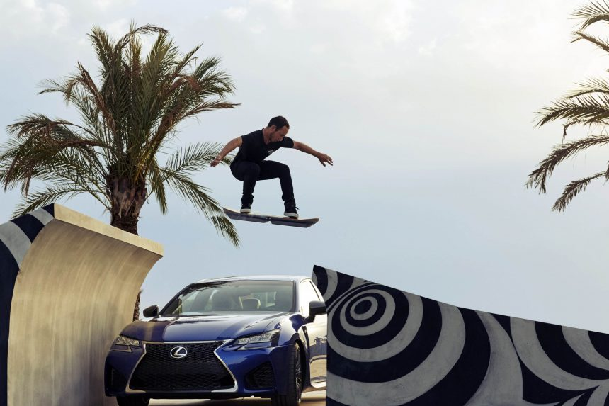"This handout picture released from Japanese auto giant Toyota Motor on August 5, 2015 shows a prototype model of a floating board ""Hoverboard"" with Toyota's luxury brand Lexus, being pictured in Barcelona in Spain. Toyota's luxury car brand Lexus says it has created a prototype that glides frictionlessly just above the ground with technology similar to that used in so-called maglev trains. Toyota said the Hoverboard is not for sale. AFP PHOTO / TOYOTA MOTOR ---EDITORS NOTE---HANDOUT RESTRICTED TO EDITORIAL USE - MANDATORY CREDIT ""AFP PHOTO / TOYOTA MOTOR"" - NO MARKETING NO ADVERTISING CAMPAIGNS - DISTRIBUTED AS A SERVICE TO CLIENTS"