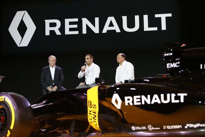 STOLL Jerome (fra) Renault Sport F1 president with ABITEBOUL Cyril (fra) Renault Sport F1 managing director and VASSEUR Frederic (fra) team manager Renault Sport F1 team ambiance portrait during the Renault Sport F1 launch at Guyancourt Technocentre, France on february 3 2016 - Photo Frederic Le Floc'h / DPPI