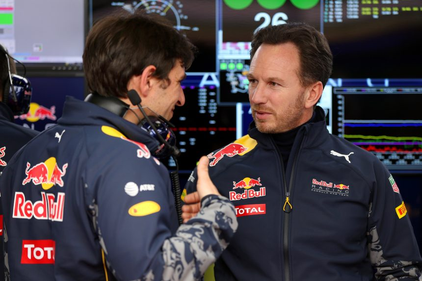 MONTMELO, SPAIN - FEBRUARY 24:  Red Bull Racing Team Principal Christian Horner speaks with Pierre Wache, Chief Engineer of Performance Engineering at Red Bull Racing in the garage during day three of F1 winter testing at Circuit de Catalunya on February 24, 2016 in Montmelo, Spain.  (Photo by Mark Thompson/Getty Images)